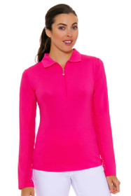 SanSoleil Women's UPF SunGlow Hot Pink Long Sleeve Zip Polo