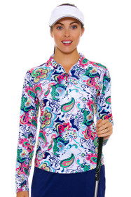 SanSoleil Women's UPF SolCool Zip Paisley Sun Shirt