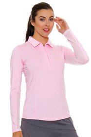 SanSoleil Women's UPF SunGlow Blush Long Sleeve Zip Polo