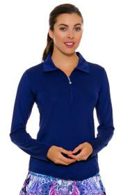 SanSoleil Women's UPF SunGlow Navy Long Sleeve Zip Polo