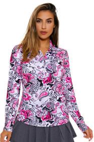SanSoleil Women's UPF SolCool Zip Paisley Pink Sun Shirt