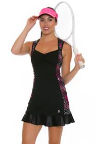 Sofibella Women's Dark Night Mesh Full Back Tennis Dress