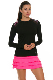 "Sofibella Women's Dark Night Ruffled Hem 13"" Pink Tennis Skirt"