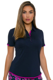 Greg Norman Women's Savannah Vine Print Collar Golf Polo