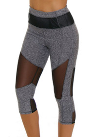 Electric Yoga Women's Color Blocked Mesh Workout Capri