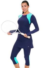Sofibella Women's Nautical Navy Abaza Tennis Skirt Leggings