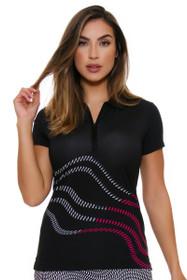 EP Pro NY Women's Marbella Reflective Swirl Print Golf Cap Sleeve Polo