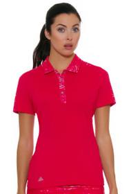 Adidas Women's Energy Pink Printed Merch Golf Short Sleeve Polo