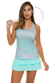 Adidas Women's Advantage Pleat Layered Aqua Tennis Skirt