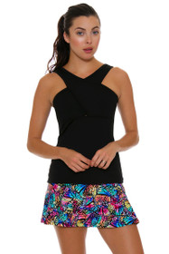 BPassionit Women's Spectrum Black Crossover Tennis Tank