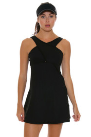 BPassionit Women's Spectrum Black Solid Crossover Tennis Dress