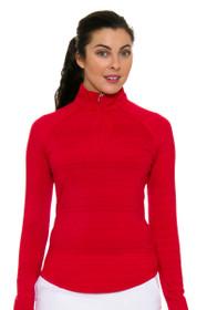 Greg Norman Women's Essentials Red Heathered 1/4-Zip Mock Golf Long Sleeve Top