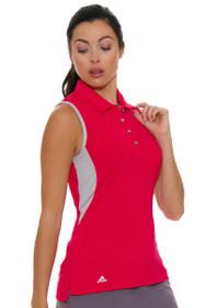 Adidas Women's Energy Pink 3-Stripes Golf Sleeveless Polo