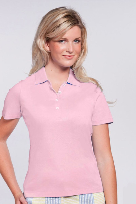 Accent Collar Liquid Cotton® Pink Polo EP-5451ZE-DS Image 1