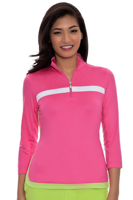 Cosmo Pink Blocked Zip Mock Golf Polo Shirt EP-5530JC-Cosmo Pink Image 4