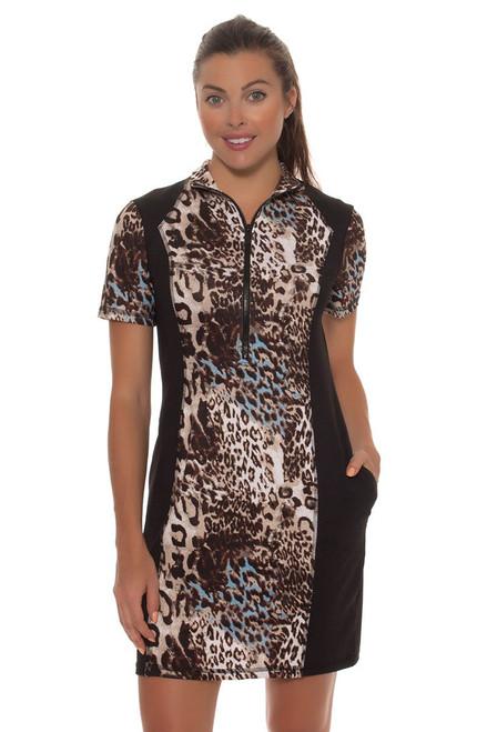 Leopard Cold Shoulder Mock Golf Dress KH-D17-9 Image 4