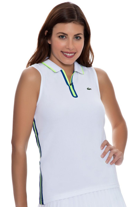 Mesh Back Sleeveless Tennis Polo LC-PF5945-51-White Image 4
