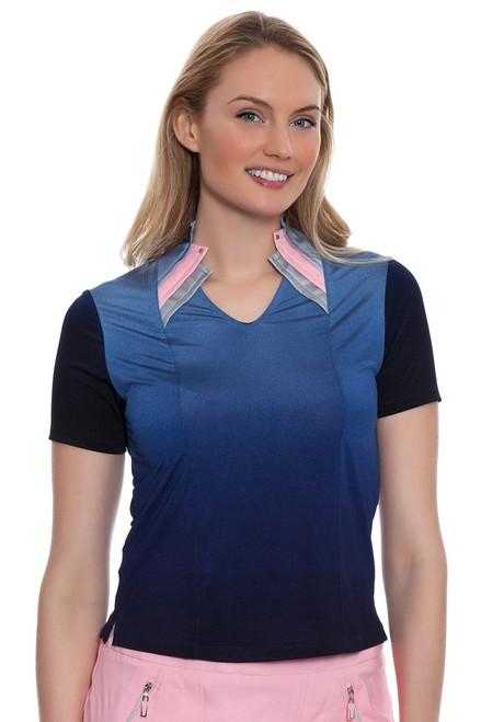 Jamie Sadock Women's Doll Face Geometric Neckline Golf Polo Shirt JS-61149-650 Image 4