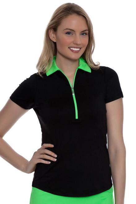 Jofit Women's Melon Ball Pop Collar Short Sleeve Golf Polo Shirt JF-GT281 Image 4