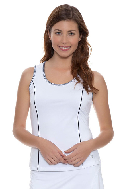 Fila Women's  Gingham White Full Coverage Tank with Gingham Trim FT-TW161MU6-100 Image 4