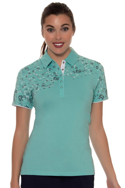 Callaway Women's Women'sEquillibrium Floral Print Top Golf Polo Shirt