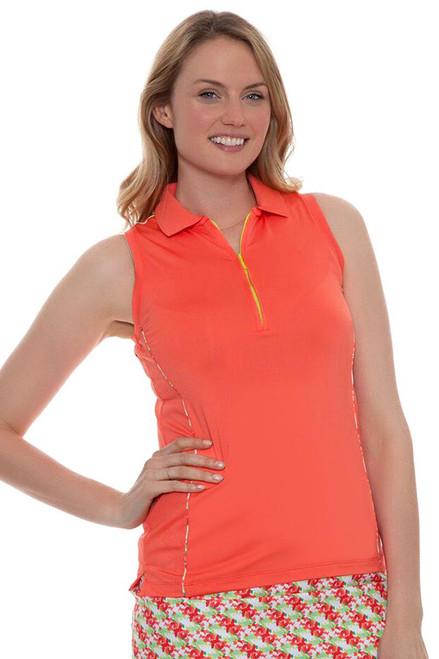 Peter Millar Women's Laguna Zip Neck Sleeveless Golf Polo PM-LS16EK03-Starfish Image 4