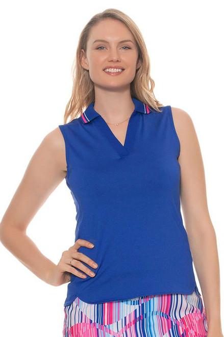 EP Pro Women's Sugar Rush V Neck Tipped Collar Golf Polo Shirt EP-5627KB Image 4