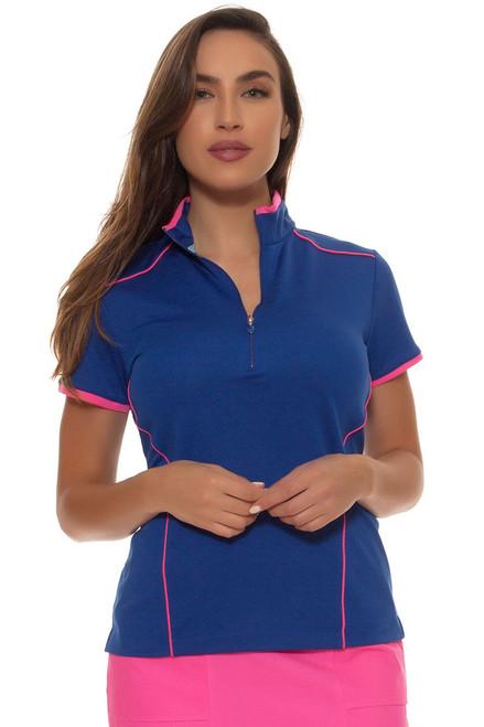 EP Pro Women's Sugar Rush Contrast Piped Zip Mock Golf Polol Shirt EP-5622KB Image 4