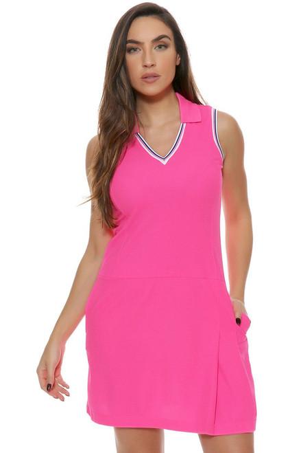 EP Pro Women's Sugar Rush V Neck Tipped Trim Sleeveless Golf Dress EP-0620KB Image 4
