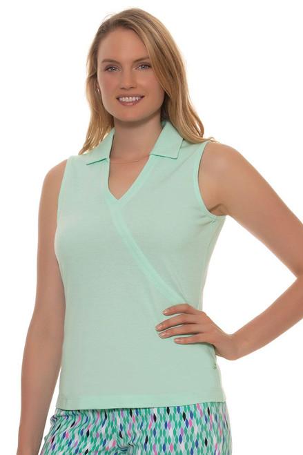 EP Pro Women's Paradise Found Faux Crossover Sleeveless Golf Polo Shirt EP-5670KC Image 4