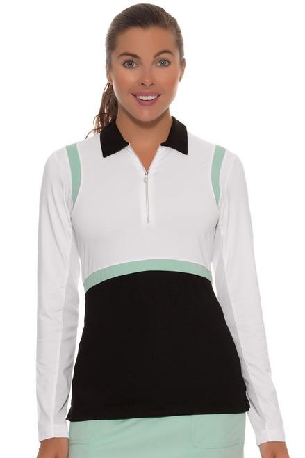 EP Pro Women's Paradise Found Color Blocked Zip Golf Polo Shirt EP-5630KC Image 4