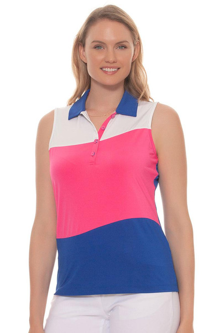 EP Pro Women's Sugar Rush Swirl Contrast Blocking Golf Polo Shirt EP-5629KB Image 4
