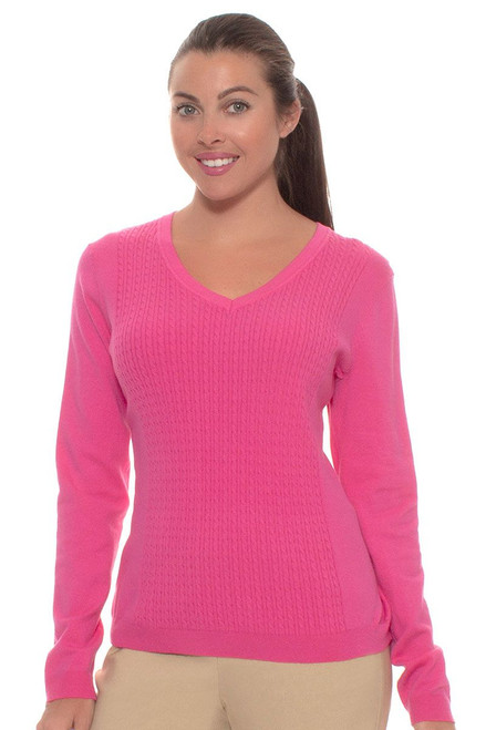 EP Pro Women's Basics Cable Panel V Neck Pullover EP-4003 Image 1