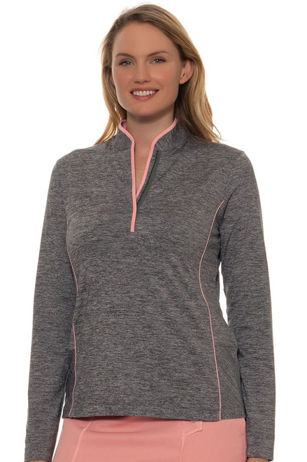 EP Pro Women's J'Adore Heather Brushed Piped Mandarin Collar Pullover EP-6642KD Image 4