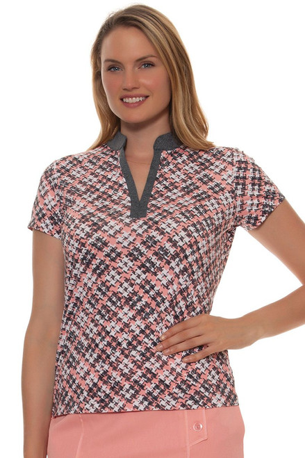 EP Pro Women's J'Adore Lattice Houndstooth Print Golf Polo Shirt EP-5645KD Image 4