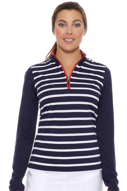 EP Pro Women's Rittenhouse Tour-Tech Stripe  Zip Mock Golf Polo EP-5610KA Image 4