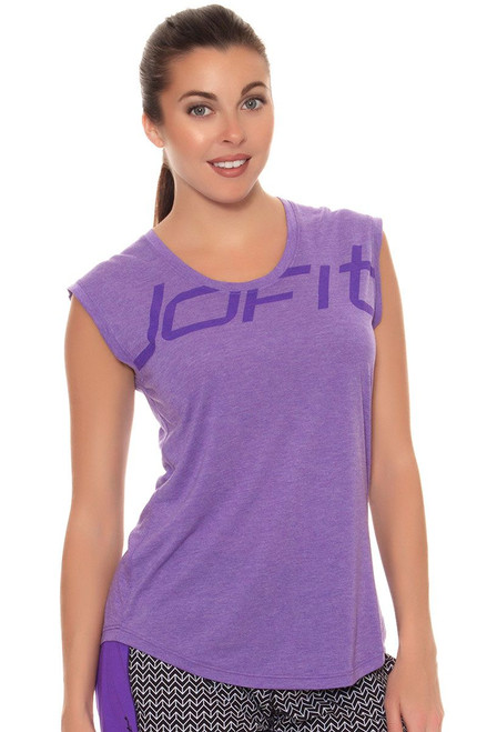 Jofit Women's Workout Muscle Tee with Print JF-FT040-NVT Image 5