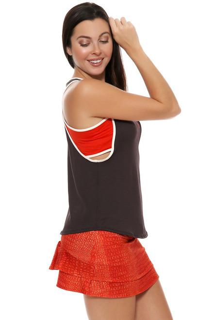 Lucky In Love Women's Birque Birque Fire Croc Short Orange Tennis Skirt LIL-CB156-129957 Image 4