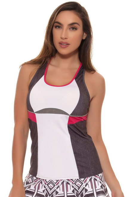 Lucky In Love Women's In the Fast Lane Colorblock Denim Racerback Tennis Tank LIL-CT287-070002 Image 4