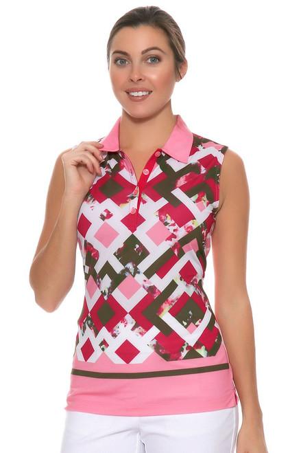 EP Sitting Pretty Trellis Floral Border Print Golf Sleeveless Shirt EP-5718LA Image 6
