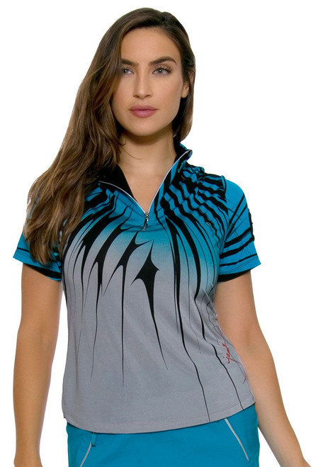 Line Pattern Golf Polo Shirt