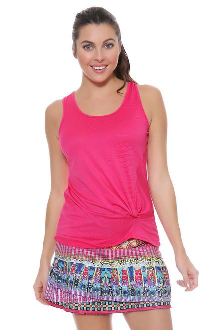 Lucky In Love Women's Print Medley Disco Gypsy Long Pleat Tier Pink Tennis Skirt LIL-CB171-169955 Image 4