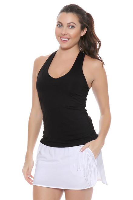Lucky In Love Women's Fringe Boxer White Fringe Tennis Skirt LIL-CB175-110 Image 4