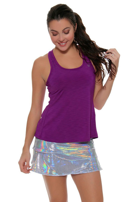Lucky In Love Women's Print Medley Iridescent Silver Scallop Tennis Skirt LIL-CB187-110 Image 4