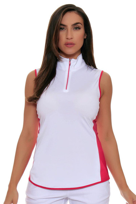 Greg Norman Zip Color Blocked Sleeveless Golf Shirt GN-G2S7K308 Image 4