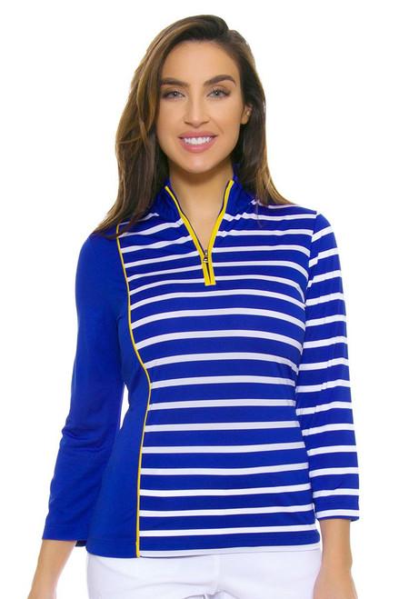 EP Ipanema Stripe Blocked Zip Mock Golf Polo Shirt