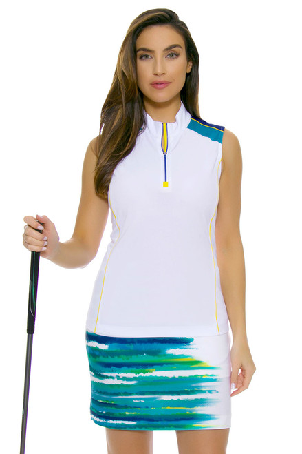 EP Ipanema Watercolor Waves Print Golf Skort