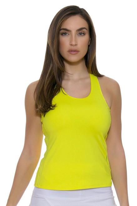 Lucky In Love Women's Core Tops Doubled Front Racerback Yellow Tennis Tank LIL-CT272-709 Image 4