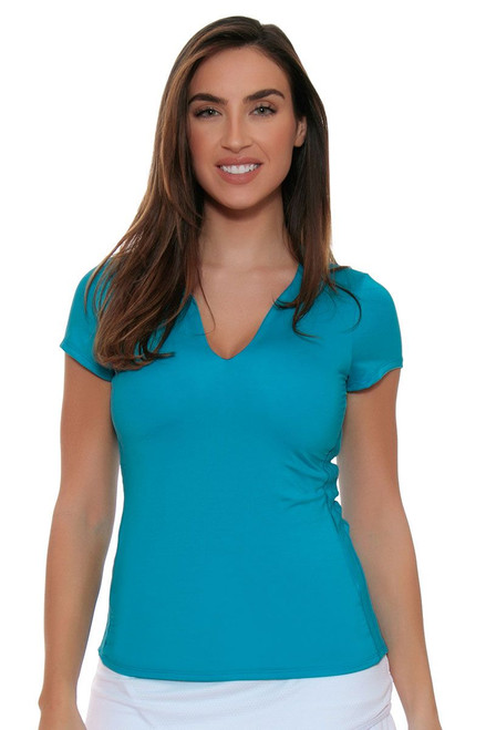Lucky In Love Women's Core Tops Double Front Blue Tennis Cap Sleeve LIL-CT273-410 Image 4