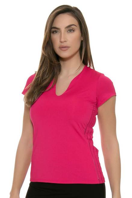 Lucky In Love Women's Core Tops Double Front Pink Tennis Cap Sleeve LIL-CT273-645 Image 4